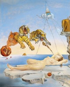 Sueño causado por el vuelo de una abeja alrededor de una granada un segundo antes de despertar de Dali